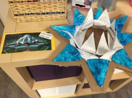 The Lotus Temple made from paper plates, paint, cardboard and metallic liquid watercolor.