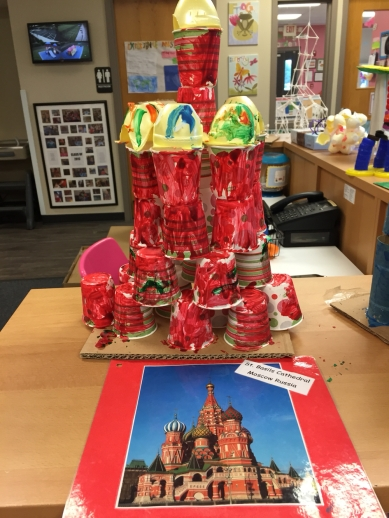 St. Basil's Cathedral made from paper cups, egg cartons, and paint.
