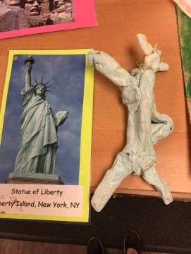 The Statue of Liberty made from modeling clay and paint.